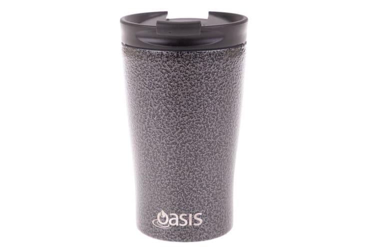 Oasis 350ml Stainless Steel Double Wall Insulated Travel Cup Mug Hammertone Grey