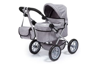 Bayer City Star 68cm Doll Pram/Stroller w/Bag Grey Denim w/Crown Kids Toy 3+