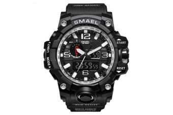 Men'S Large Dual Dial Analog Digital Quartz Multifunction Electronic Sport Watch Blacksilver