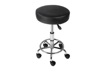 Round PU Swivel Salon Stool (Black)