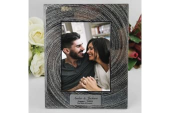Personalised Engaged 5x7 Photo Frame - Silver Glitter