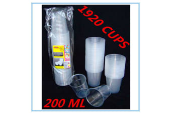 1920 x CLEAR DISPOSABLE PLASTIC DRINKING CUPS - REUSABLE 200ML - PARTY RESTAURANT EVENT