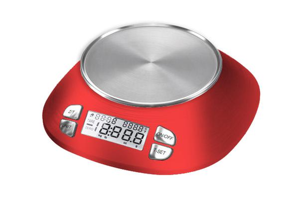 TODO 5Kg Kitchen Scale W/ Stainless Steel Bowl Lcd Display 1G Graduation 5000G - Red