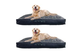 2PK Paws & Claws 90cm Fremantle Pillow Pet/Dog Bed Warm Cushion Mattress Navy