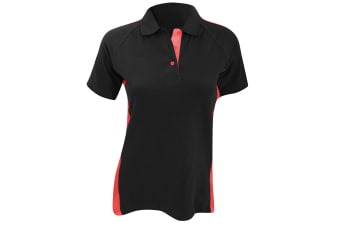 Finden & Hales Womens/Ladies Sports Polo T-Shirt (Black/Red)
