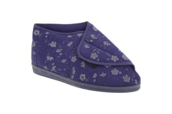 Comfylux Womens/Ladies Andrea Floral Bootee Slippers (Blue)