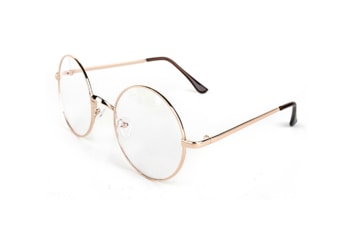 High Fashion Round Clear Lens Metal Frame Glasses Rose Gold