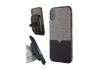 Evutec iPhone X & XS Northill Case with BONUS AFIX+ Magnetic Car Mount - Canvas/Black
