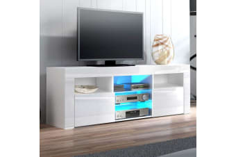 Artiss 145cm RGB LED TV Cabinet Entertainment Unit Stand Gloss Furniture White