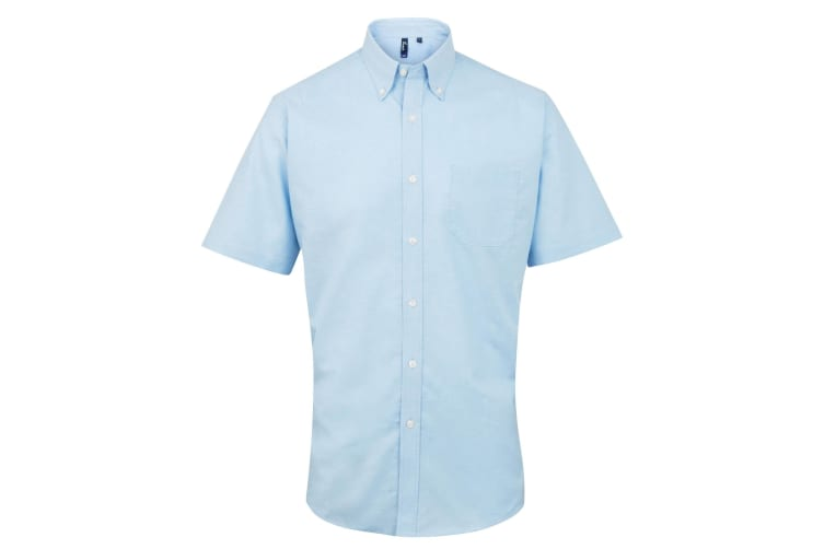 Premier Mens Signature Oxford Short Sleeve Work Shirt (Light Blue) (17)