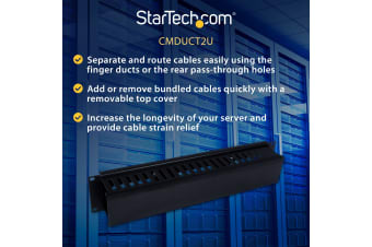 StarTech.com 2U Horizontal Finger Duct Rack Cable Management Panel with Cover