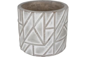Luis Concrete Pot Round Abstract Triangle