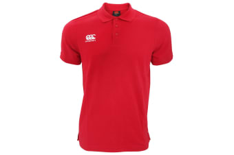 Canterbury Mens Waimak Short Sleeve Pique Polo Shirt (Red)