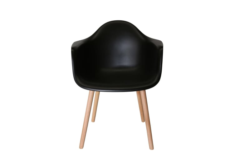 Replica Eames DAW Hal Inspired Chair | Black Seat | Natural Beech Legs