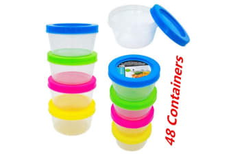 48 x Plastic 200ml Small Round Storage Food Container Clear Craft Box Color Lids