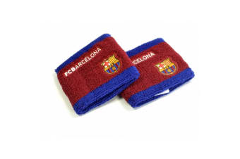 FC Barcelona Unisex Side Logo Wristbands Pack Of 2 (Burgundy/Blue) (One Size)