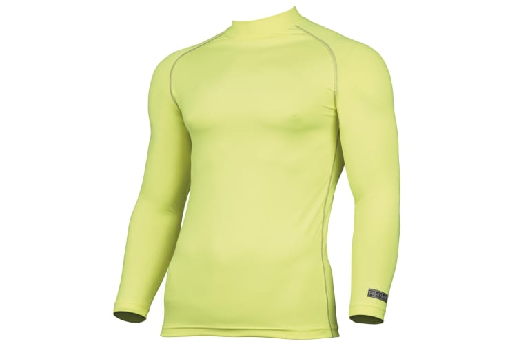 Rhino Mens Thermal Underwear Long Sleeve Base Layer Vest Top (Fluorescent Yellow) (XS)
