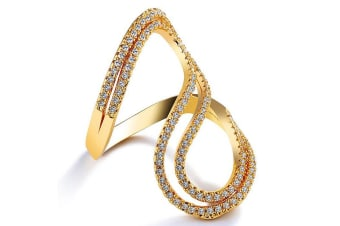 Lovely Kate Fashion Ring-Gold/Clear Size US 8