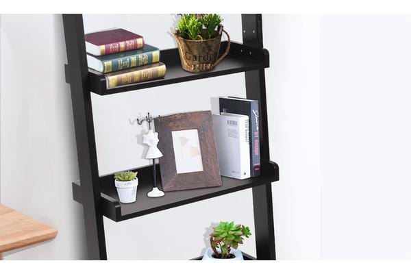 5 Tier Wooden Wall Rack Leaning Ladder Shelf Unit Bookcase Display Home Decor BLACK