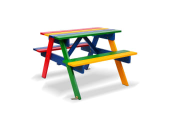 Keezi Kids Picnic Table Bench Set Children Wooden Outdoor Indoor Chair Garden