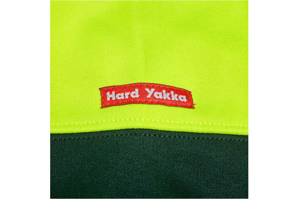 Hard Yakka Men's Hi-Vis Two Tone Brushed Fleece Crew Neck Jumper (Yellow/Green, Size XL)
