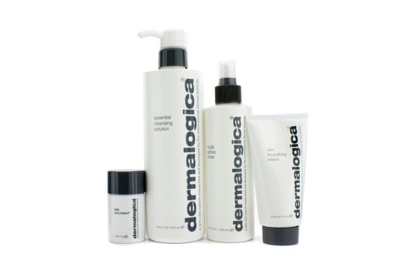 Dermalogica Festive Set: Essential Cleansing Solution 500ml + Multi-Active Toner 250ml + Skin Smoothing Cream 100ml + Daily Microfoliant 13g (4pcs)