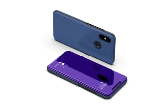 Mirror Case Translucent Flip Full Protection Mobile Phone Stand For Xiaomi Purple Xiaomi8