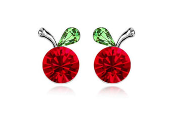 Red Apples Earrings w/Swarovski Crystals-White Gold/Red