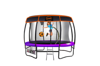 Kahuna Trampoline 12 ft with Basket ball set and Roof-Purple
