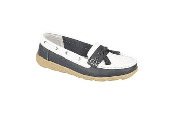 Boulevard Womens/Ladies Saddle/Tassle Boat Shoes (White/Navy Blue) (5 UK)