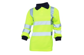 Yoko Ladies/Womens Hi-Vis Long Sleeve Polo Shirt (Hi-Vis Yellow) (4XL)