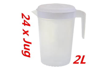24 x Plastic Pitcher 2L with Lid Beer Water Juice Jugs Jug BPA FREE Dishwasher Safe