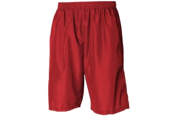 Tombo Teamsport Mens Teamwear All Purpose Longline Lined Sports Short (Red / Red)