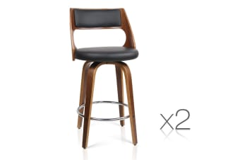Set of 2 Bentwood PU Leather Bar Stools (Chrome/Black)