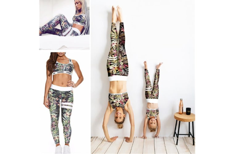 2 Pieces Floral Print Tracksuit Yoga Legging Crop Top Suit For Mother And Daughter - 4 (5-7 Years)
