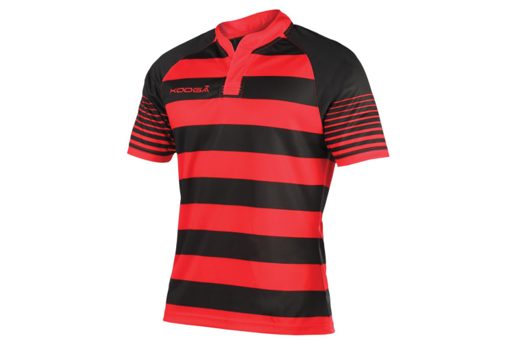 KooGa Boys Junior Touchline Hooped Match Rugby Shirt (Black/Red) (S)
