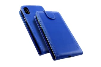 For iPhone XS X Case iCoverLover Styled Vertical Flip Genuine Leather Cover Blue