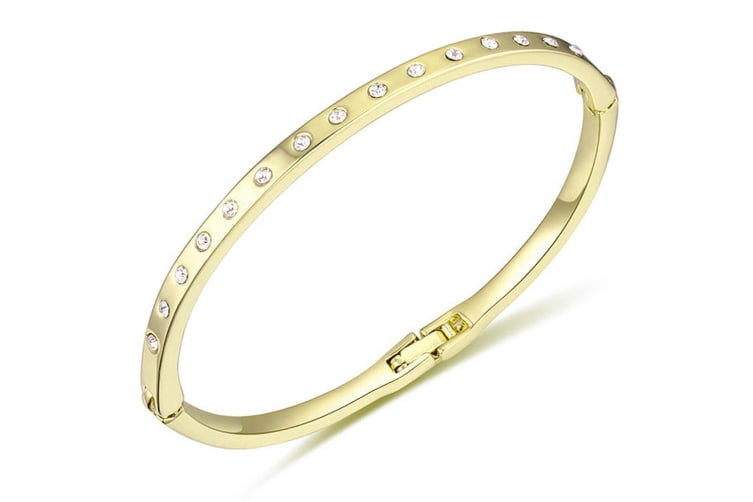 In-Line Bangle Gold Embellished with Swarovski crystals
