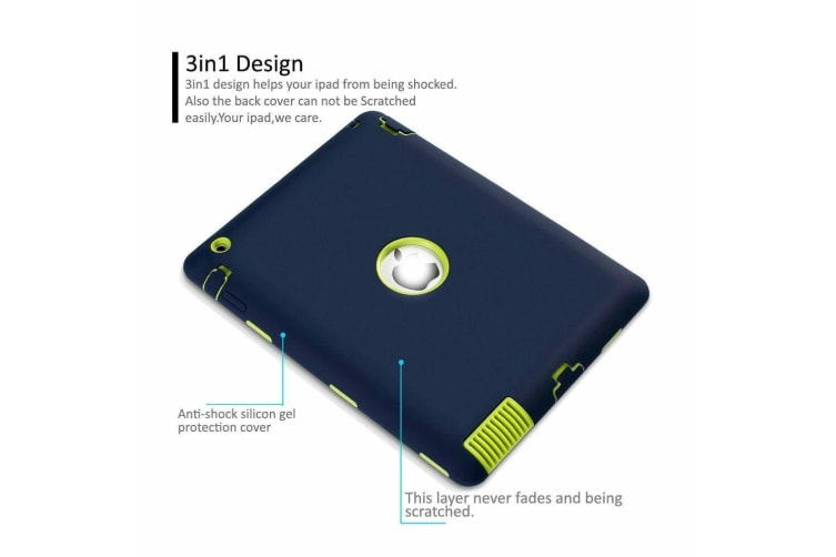 Heavy Duty Shockproof Case Cover For iPad 5th 9.7 Inch 2017-Navy Blue/Green