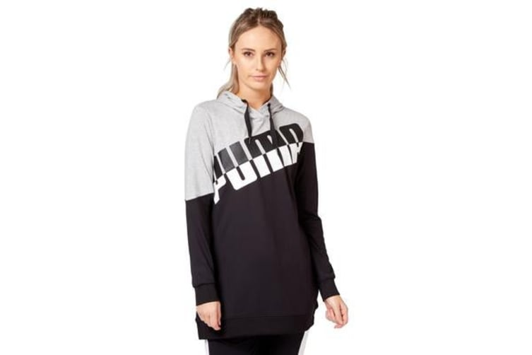 Puma Women's A.C.E. Blocked Hoodie (Light Grey Heather/Black, Size S)