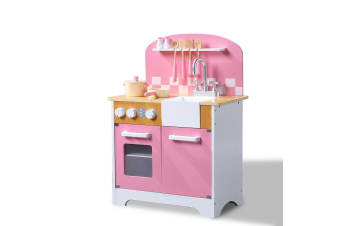 BoPeep Kids Wooden Kitchen Pretend Play Set Children Cooking Toy Cookware Chef