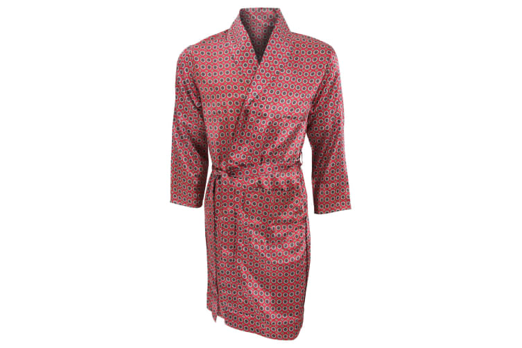 Mens Lightweight Traditional Patterned Satin Robe/Dressing Gown (Red) (XL Chest: 44inch)