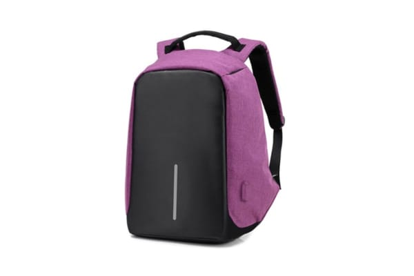 Milano Anti Theft Backpack with USB Port (Purple)