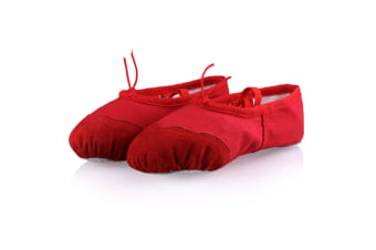 Girls Canvas Ballet Slipper/Ballet Shoe/Yoga Dance Shoes Red 30