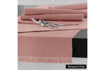100% COTTON Ribbed Table Runner Blossom Pink 45 x 150cm by Hoydu