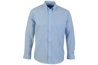 Absolute Apparel Mens Long Sleeved Oxford Shirt (Light Blue) (2XL)