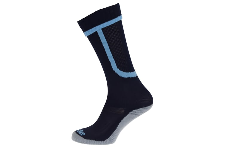 Apto Childrens/Kids Ergo Football Socks (Navy/Sky Blue) (12-3 Junior UK)
