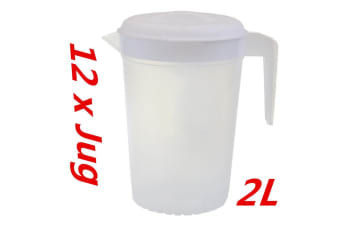 12 x Plastic Pitcher 2L with Lid Beer Water Juice Jugs Jug BPA FREE Dishwasher Safe