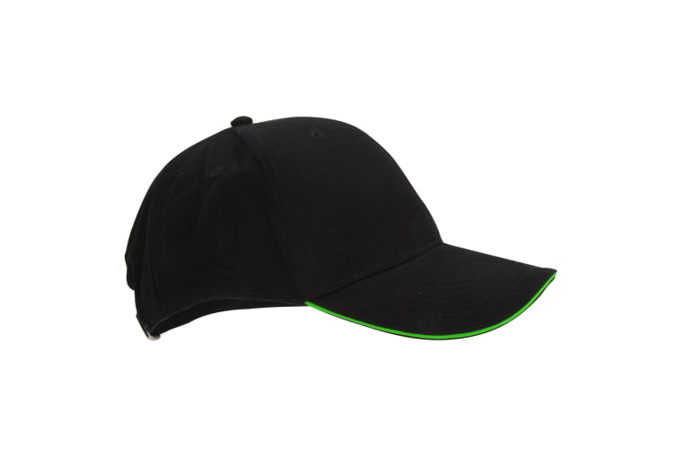 Beechfield Adults Unisex Athleisure Cotton Baseball Cap (Black/Lime Green) (One Size)