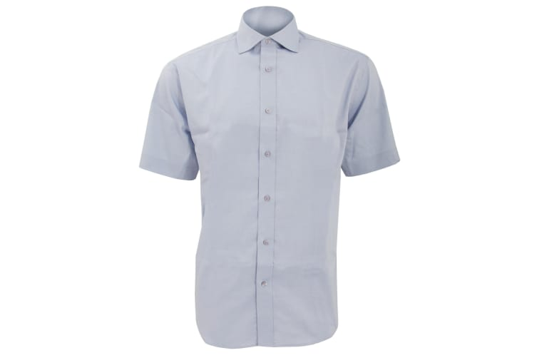 Kustom Kit Mens Superior Oxford Short Sleeved Shirt (Light Blue) (17inch)